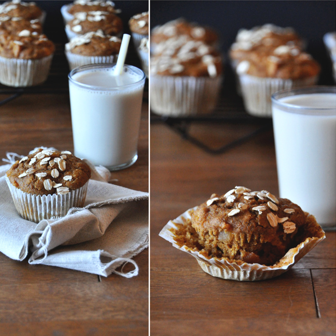 Vegan Pumpkin Apple Muffins with a glass of almond milk for a delicious snack