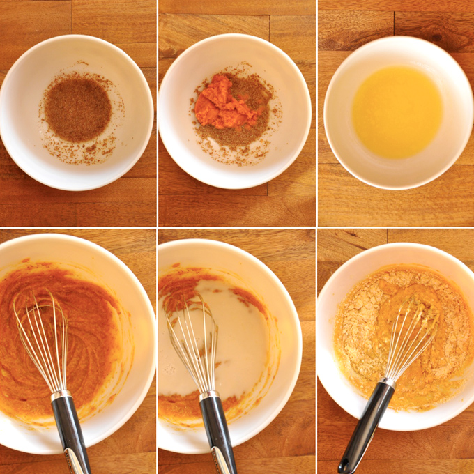 Series of photos showing how to make vegan cornbread waffle batter