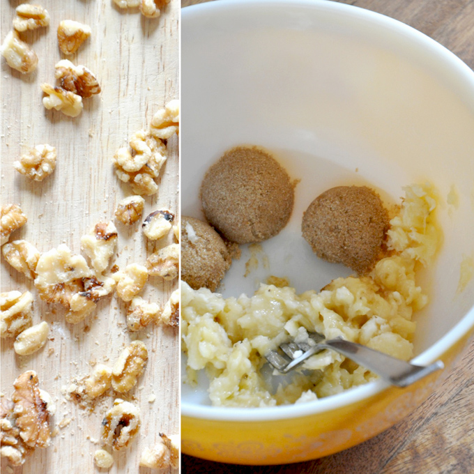 Walnuts and a bowl of ingredients for making Vegan Banana Nut Muffins for 2