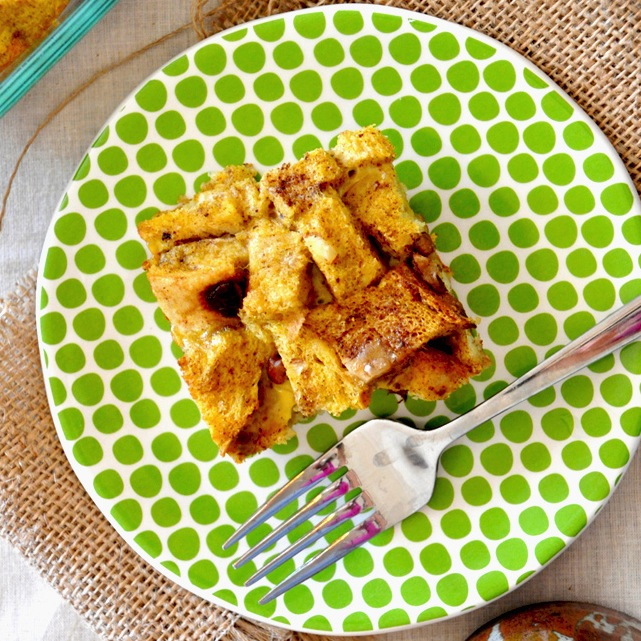 Plate with a serving of our Pumpkin French Toast Bake recipe
