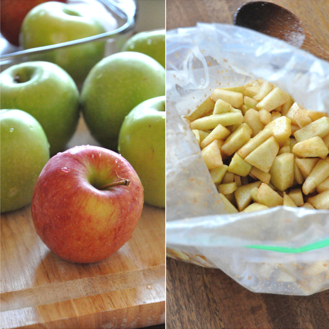 Whole and sliced apple for making our Vegan Apple Crisp recipe