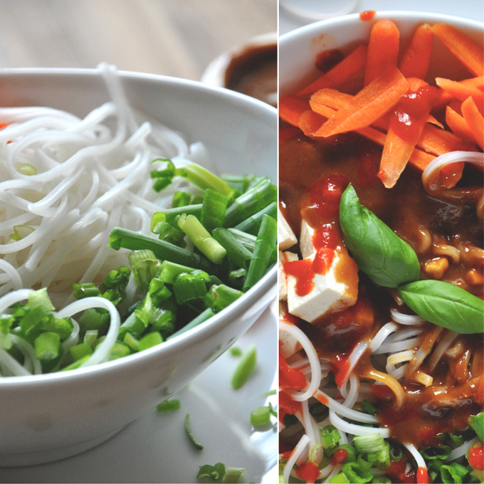 Bowl of our Asian Noodle Bowl recipe pictured wit and without dressing