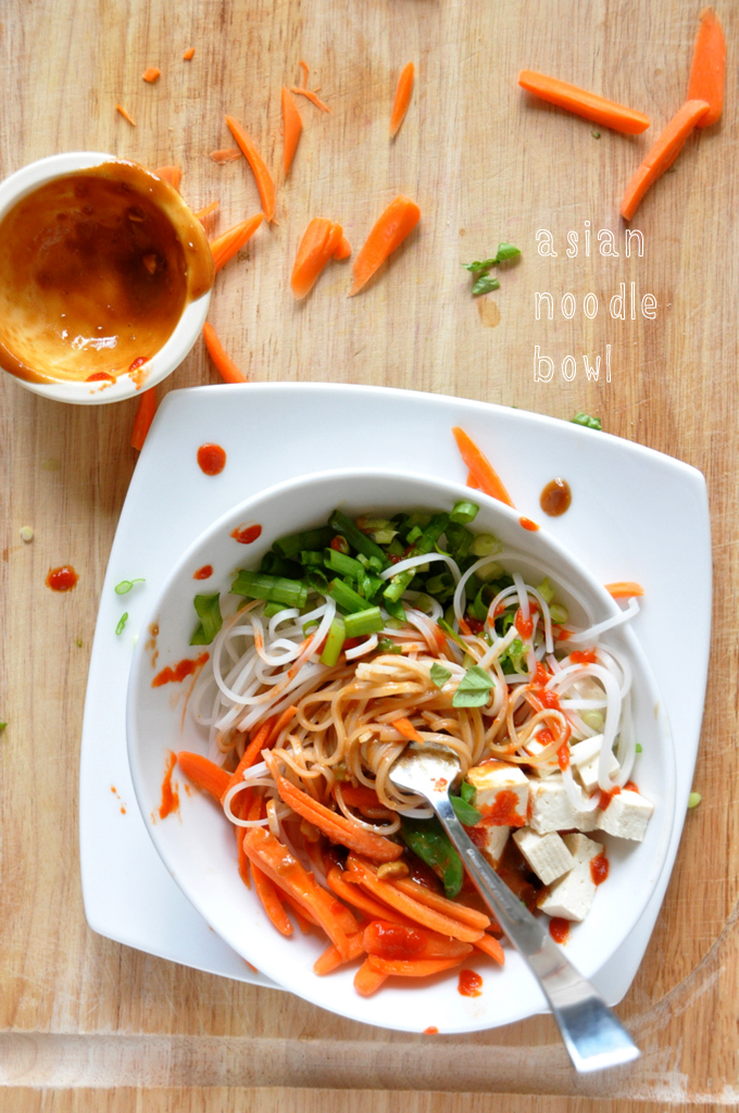 Serving of our Asian Noodle Bowl with a small bowl of Ginger Peanut Dressing on the side