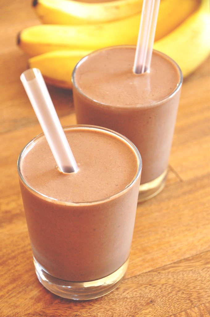 Two glasses of our Creamy Chocolate Shake for a quick and healthy breakfast