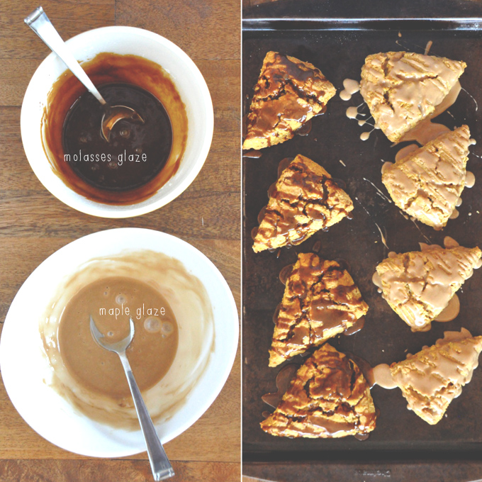 Bowls of maple and molasses glaze for drizzling over homemade Pumpkin Scones