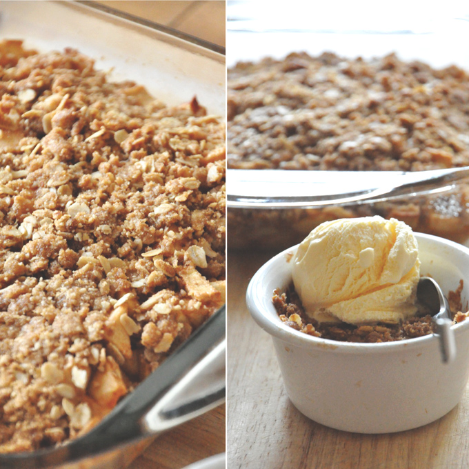 Baking pan of our Gluten-Free Vegan Apple Crisp recipe alongside a bowl of crisp topped with ice cream