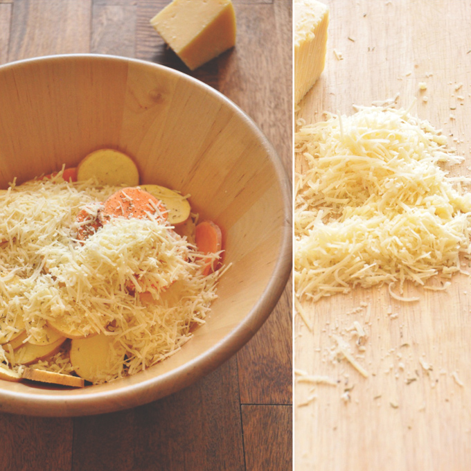 Shredded cheese with sliced potatoes for making a delicious vegetarian sweet potato recipe