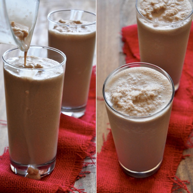 Pouring a batch of our Peppermint Mocha Frappe recipe into tall glasses