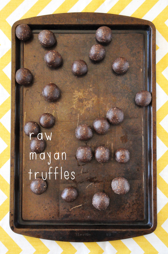 Cutting board filled with a batch of our Raw Mayan Truffles recipe