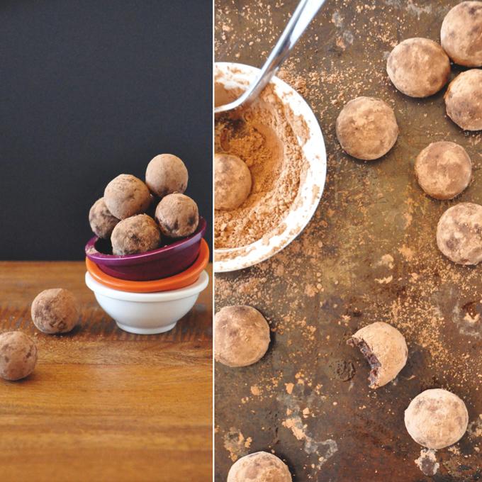 Batch of our Raw Mayan Vegan Truffles recipe coated in cocoa powder