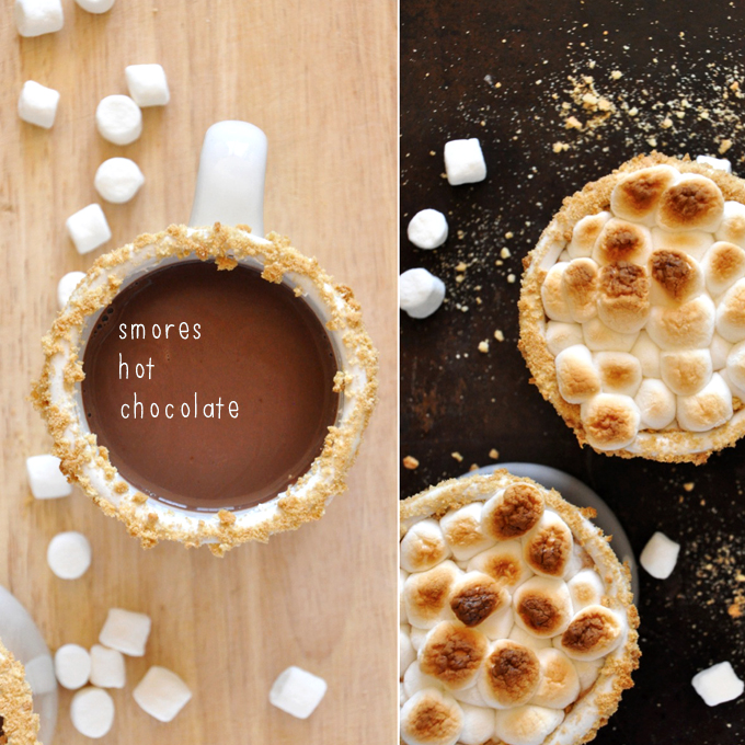 Mugs of homemade S'mores Hot Chocolate shown with and without toasted marshmallows on top