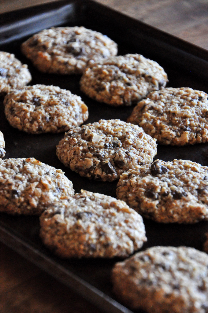Baking sheet with a batch of freshly baked Almond Meal Cookies recipe