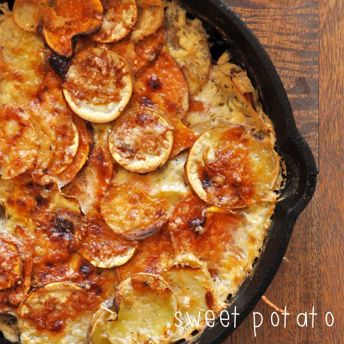 Pan of our simple and delicious Sweet Potato Parmesan Gratin recipe