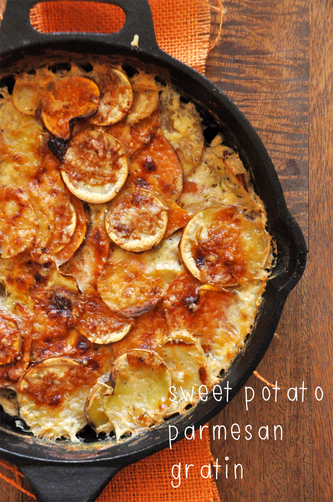 Cast-iron skillet filled with Sweet Potato Parmesan Gratin for our Thanksgiving recipe roundup