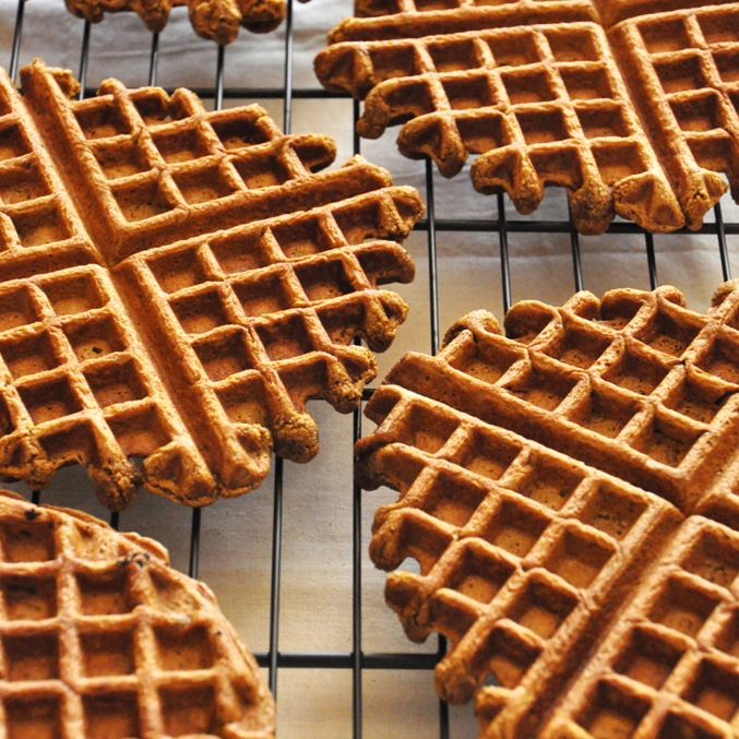 Homemade Vegan Gingerbread Waffles on a cooling rack