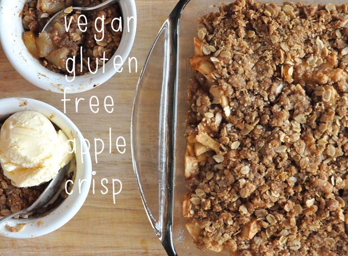 Baking dish and bowls of Gluten-Free Vegan Apple Crisp