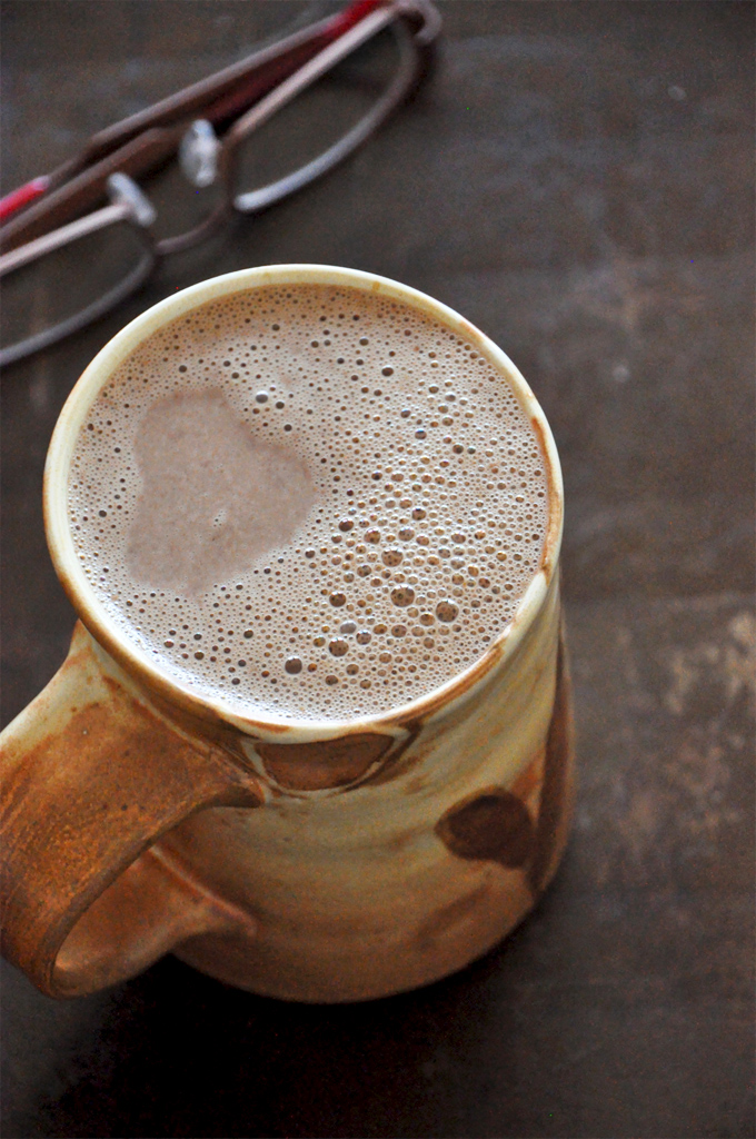 Mug filled to the brim with our homemade Mexican Hot Chocolate recipe