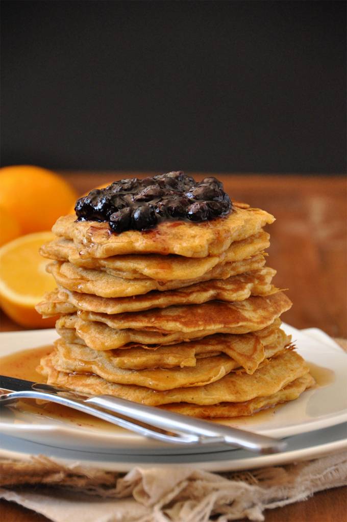 Giant stack of Whole Wheat Griddle Cakes topped with Blueberry Orange Compote