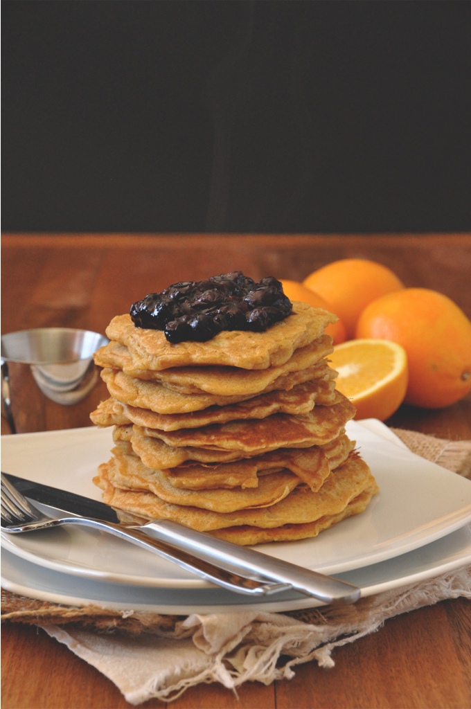 Stack of our delicious Whole Wheat Griddle Cakes topped with Blueberry Orange Compote