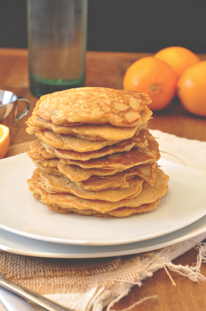 Stack of delicious Whole Wheat Griddle Cakes for a delicious winter breakfast