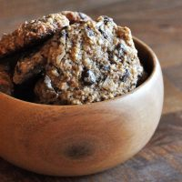 Wood bowl filled with Almond Meal Chocolate Chip Cookies