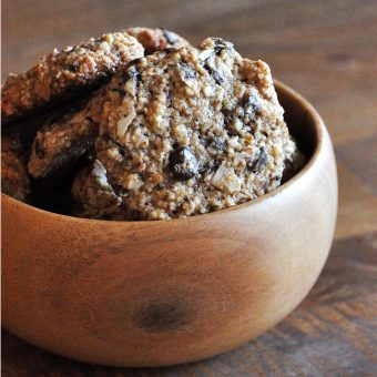 Bowl of simple gluten-free vegan Coconut Chocolate Chip Almond Meal Cookies