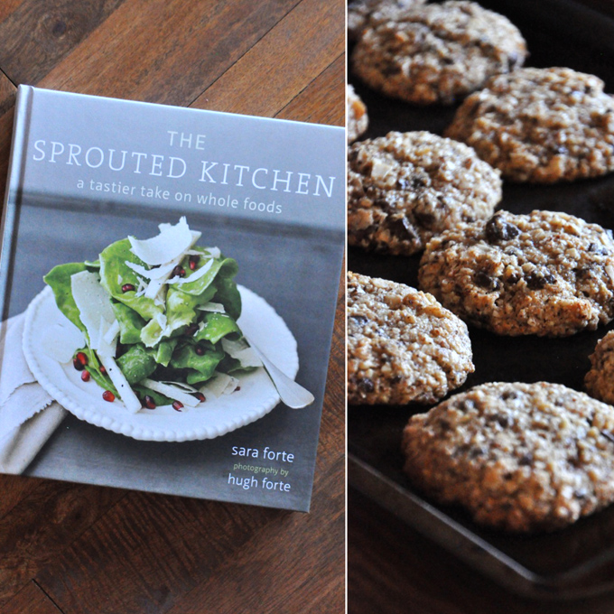 The Sprouted Kitchen cookbook and a batch of Coconut Chocolate Chip Almond Meal Cookies adapted from the cookbook