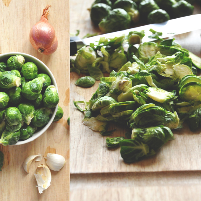 Cutting board with Brussels Sprouts and other ingredients for making healthy shallot dip