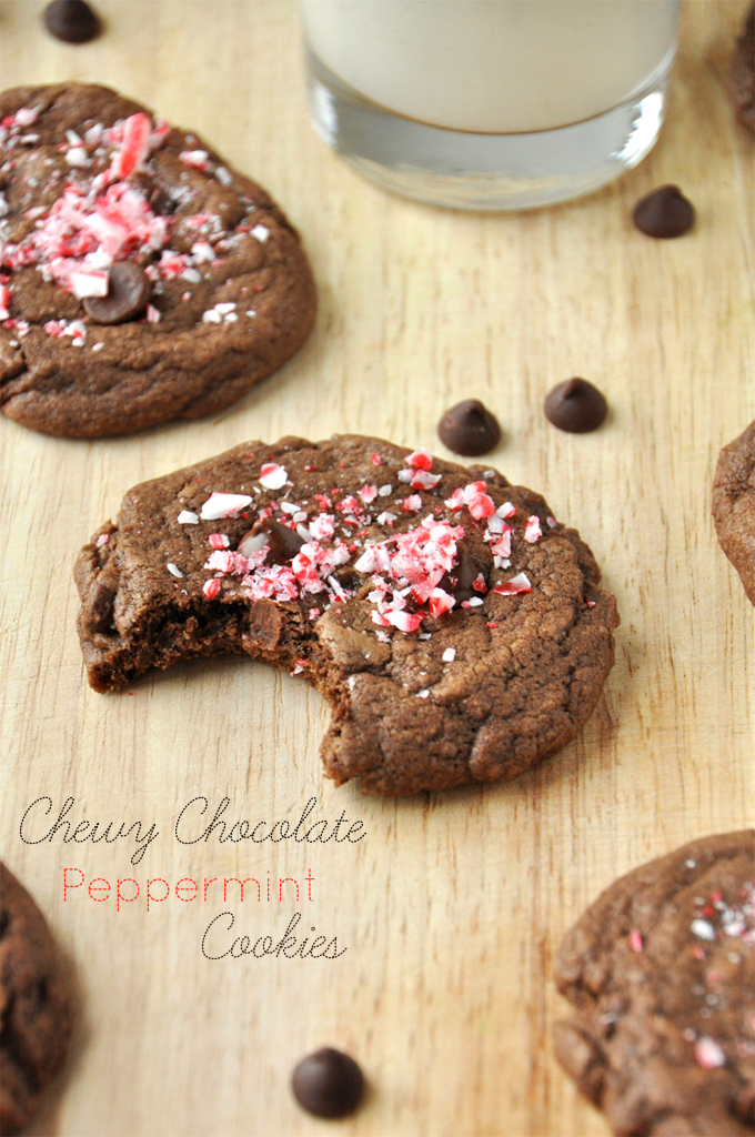 Revealing the chewy inside of a Double Chocolate Peppermint Cookie