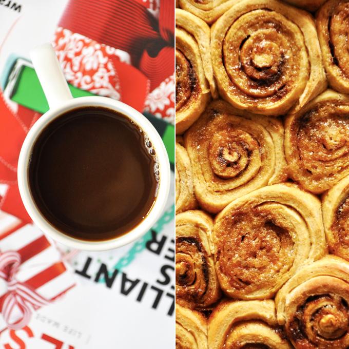 Mug of coffee and batch of Overnight Honey Wheat Cinnamon Rolls