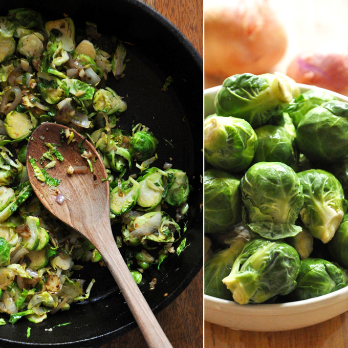 Bowl of Brussels Sprouts alongside a pan for cooking Creamy Brussels Sprout & Shallot Dip