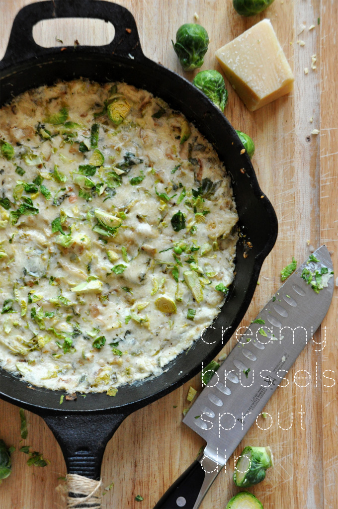 Cast-iron skillet filled with a batch of our Creamy Brussels Sprout & Shallot Dip recipe