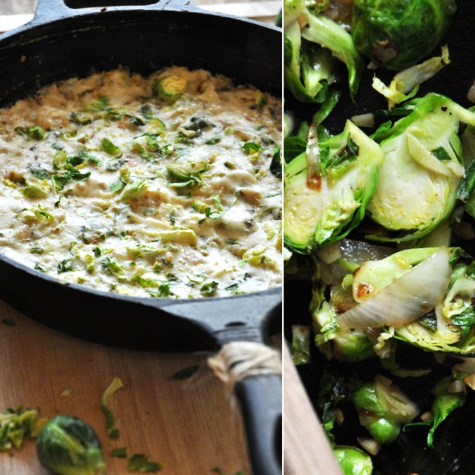 Pan of Creamy Brussels Sprout & Shallot Dip for a delicious crowd-pleasing appetizer