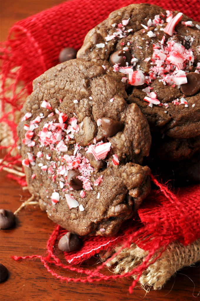 Two Double Chocolate Peppermint Christmas Cookies for a festive holiday treat