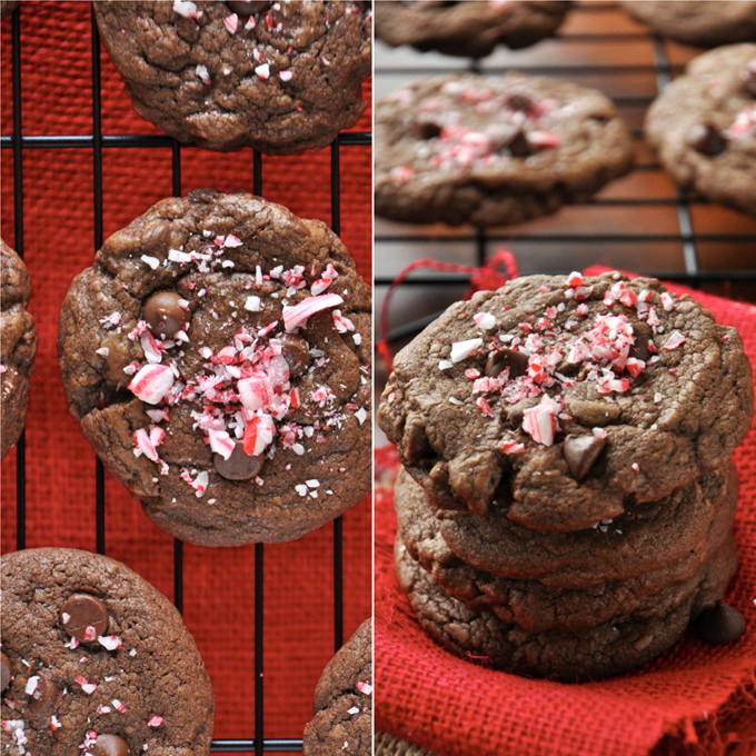 Chewy Double Chocolate Peppermint Cookies | Minimalist Baker