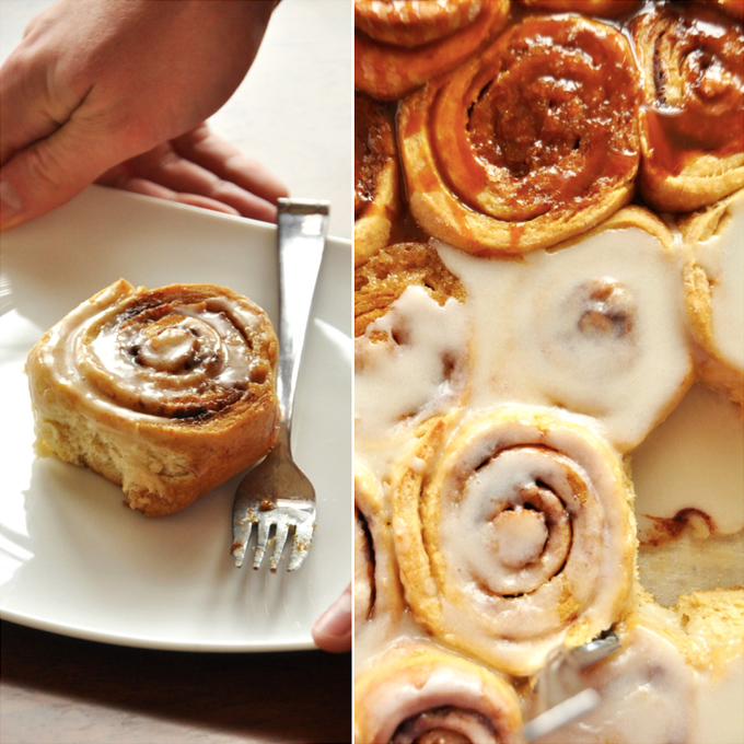 Plate and baking pan filled with Overnight Honey Wheat Cinnamon Rolls