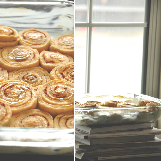Baking pan filled with a batch of Overnight Honey Wheat Cinnamon Rolls for Christmas morning