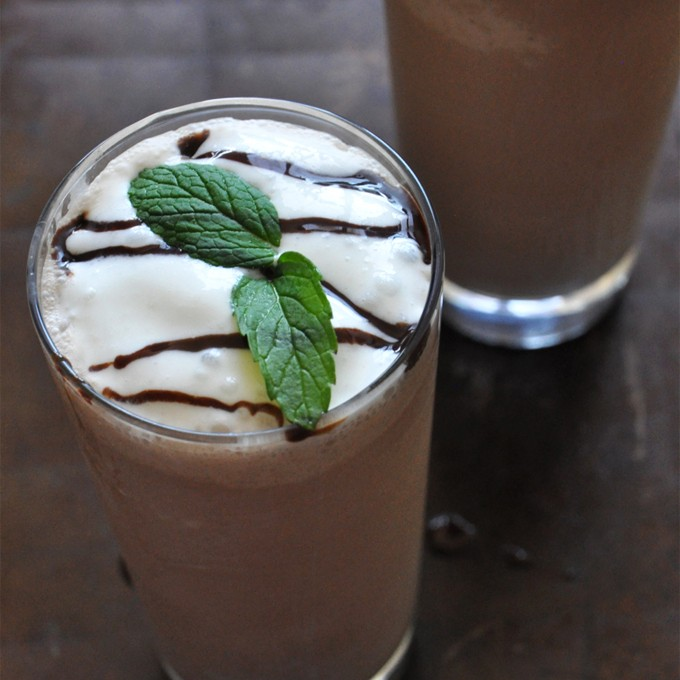 Two glasses of our homemade gluten-free vegan Peppermint Mocha Frappe recipe