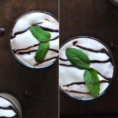 Top down shot of glasses of our Peppermint Mocha Frappe recipe topped with fresh mint leaves