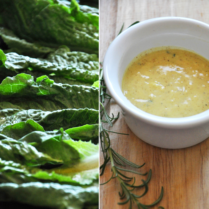 Leaves of romaine and a bowl of Rosemary Caesar Dressing