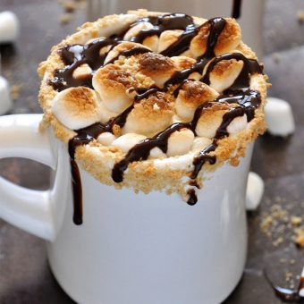 Close up shot of a mug of S'mores Hot Chocolate recipe developed to support Charity Water