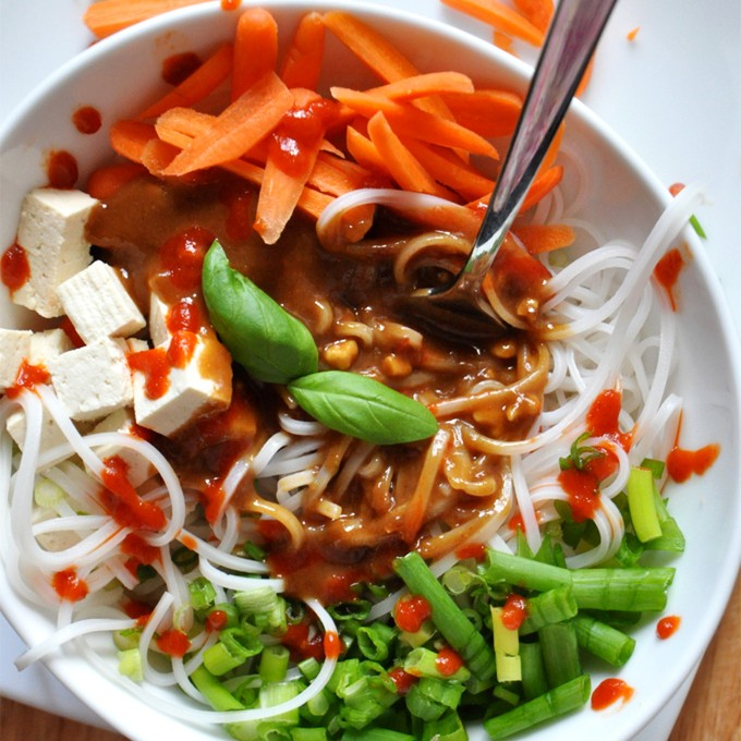 Colorful bowl of our Asian Noodle Bowl recipe with homemade Peanut Dressing