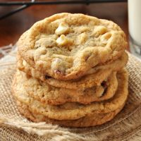 Stack of Whole Wheat White Chocolate Cranberry Cookies