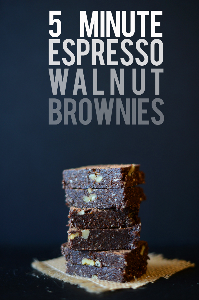 Tall stack of our super simple Espresso Walnut Brownies recipe