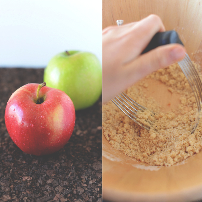 Fresh apples and using a pastry cutter to make streusel