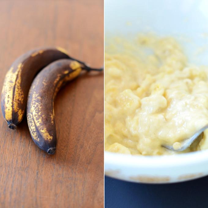 Fresh bananas and a bowl of mashed bananas for making Banana Bread Bites