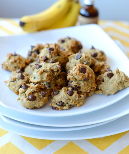 Plate of our Vegan Chocolate Chip Banana Bread Bites recipe