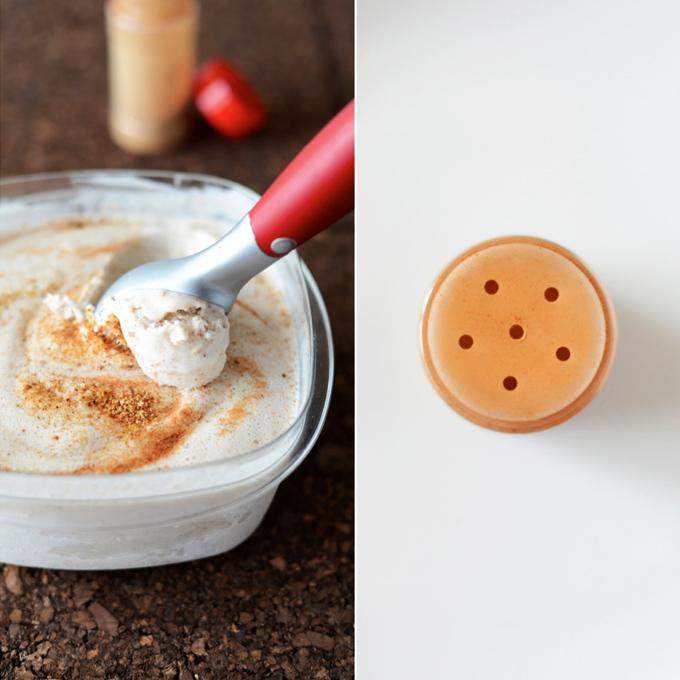 Jar of cinnamon and tub of homemade dairy-free Cinnamon Toast Ice Cream