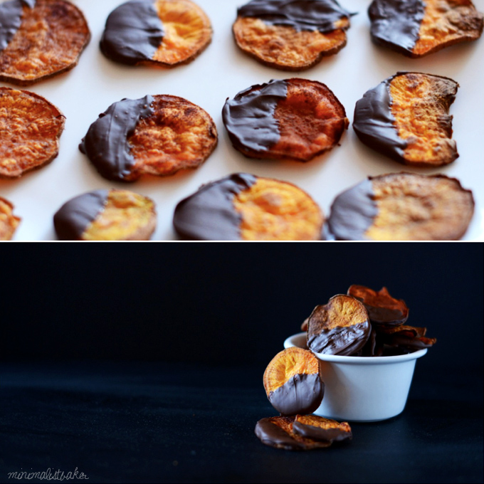 Batch of our Dark Chocolate Sweet Potato Chips on light and dark backgrounds