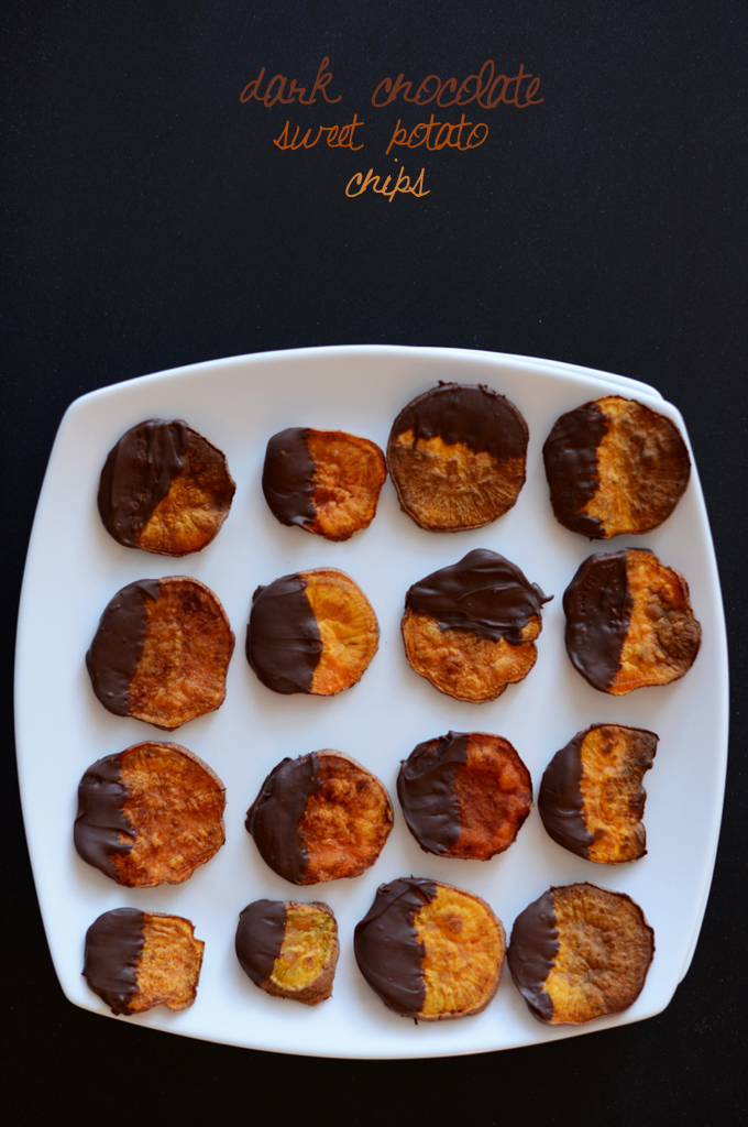 Plate of Dark Chocolate Sweet Potato Chips for a healthy snack